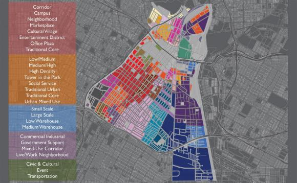 A graphic depicting the existing 28 character districts in Downtown Los Angeles.