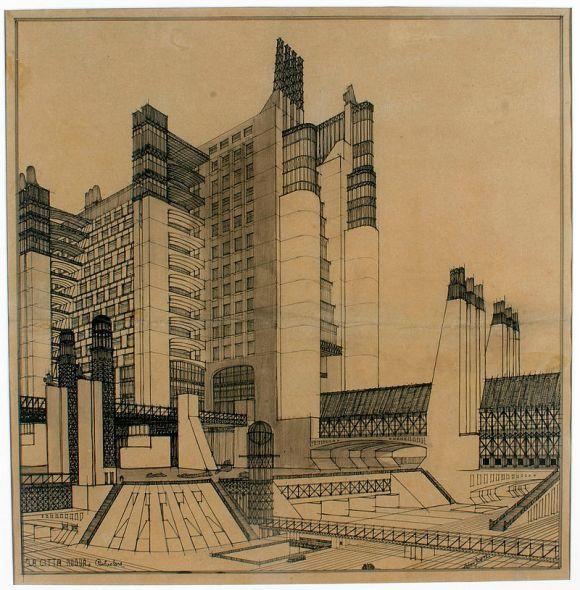 House with external elevators (1914)_Sant'Elia