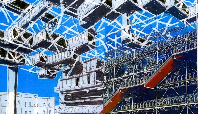 Ville-spatiale-et-Centre-Pompidoula Yona Friedman