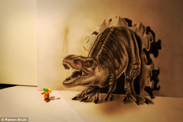 Play on fear: A miniature gnome stand terrified facing a very real looking Tyrannosaurus Rex which has broken through the paper wall