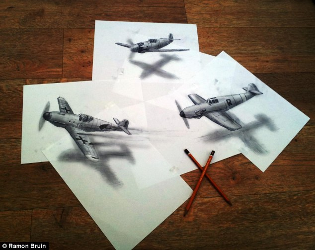 Come fly with me: Three airplanes appears take flight from the cleverly placed papers on the floor