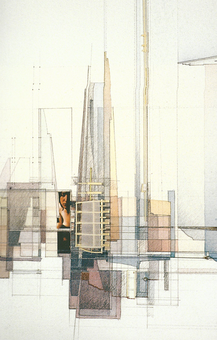 Angels in Architecture (detail) | watercolour, graphite, bass wood, vellum, photographic images, 2003