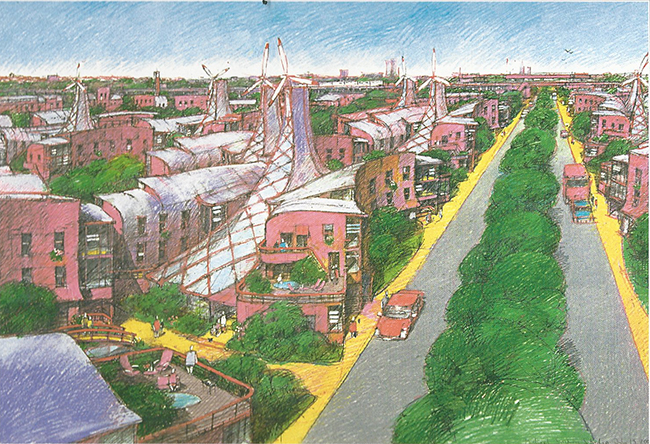 Arvrene Perspective by © Michael Sorkin | coloured pencil, hand drawing, 2001