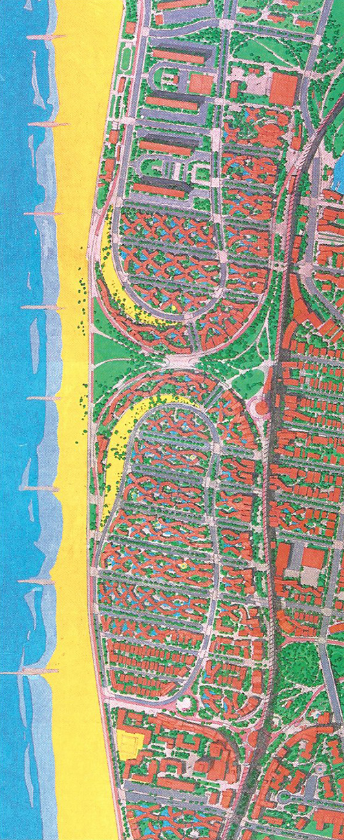 Arvrene Site Plan by © Michael Sorkin | coloured pencil, hand drawing, 2001