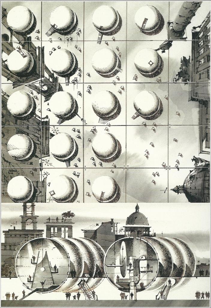 'Exhibition Spaces' by S. Tchoban // watercolour, pen, sepia-ink, 36x36cm, 1999