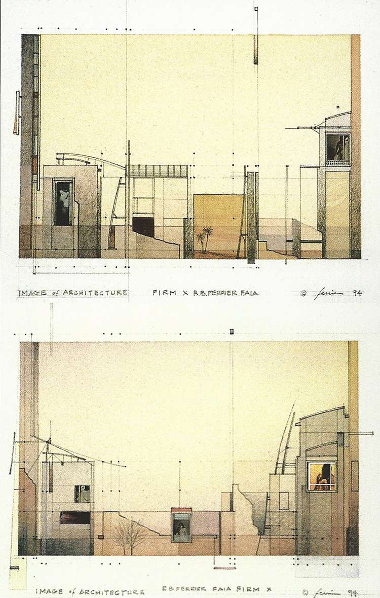 Image of Architecture | postcards, watercolour, graphite, photographic images, 1994