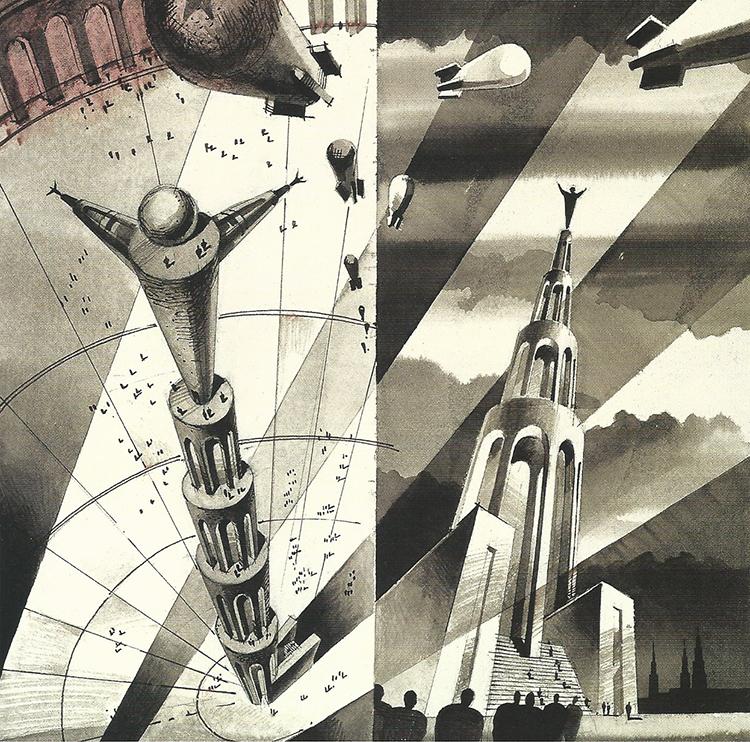 'Monument' by S Tchoban // watercolour, pen, sepia-ink, 36x36cm, 1999