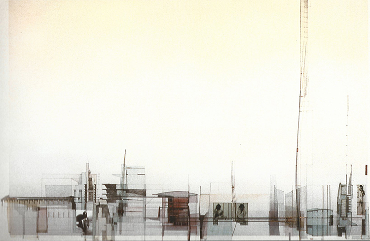 Tower House | watercolour, graphite, coloured pencil, photographic film images, 2000