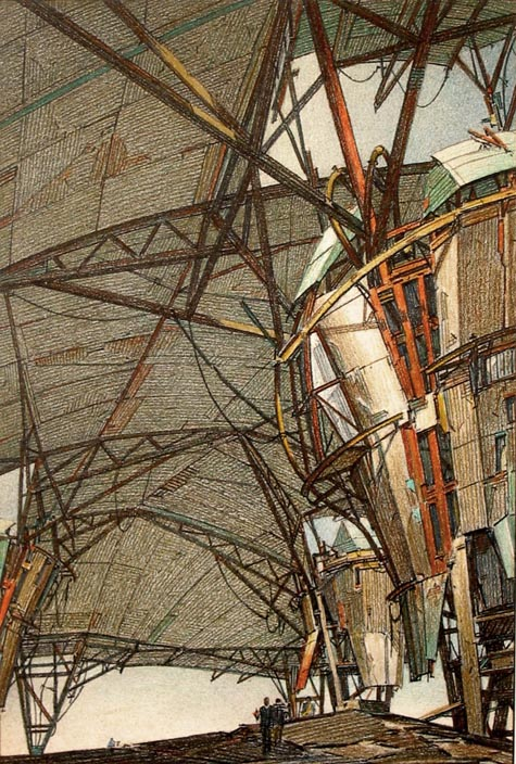 Future structures of the Korean demilitarized zone by Lebbeus Woods | 1988