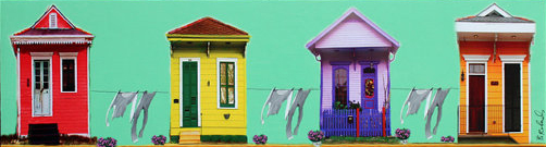 Colourful photographic collage of New Orleans shotguns with laundry hanging on clotheslines.