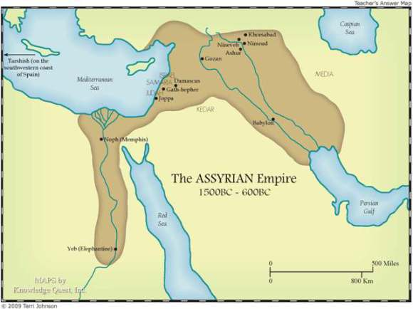 The Assyrian Empire map // Terri Johnson, Knowledge Quest, Inc.